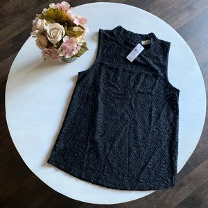 LOFT black lace high neck tank